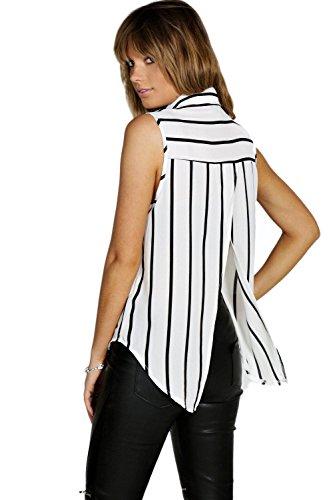 blanc Femmes Sionan Chemise Tissée Sans Manches À Rayures Blanc