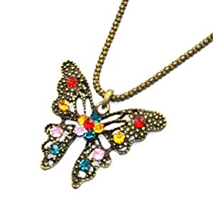 Zehui Retro Style Colorful Crystal Butterfly Long Chain Necklace Fashion Pendant