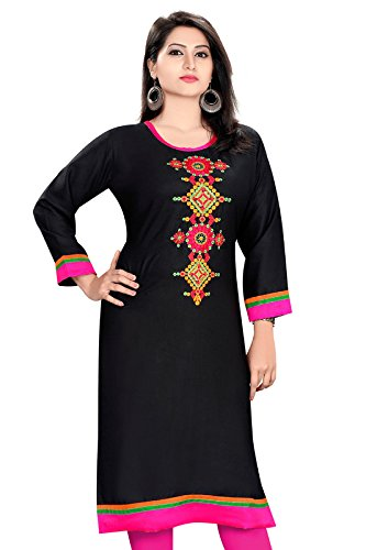 PLUS SIZE LONG PAKISTANI BLACK RAYON EMRIODERY KURTI  available at amazon for Rs.649