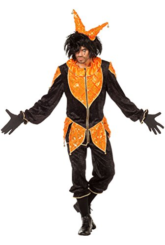 arren Kostüm Herren Hofnarr Harlekin Clown Kostüm Karneval Herren-Kostüm Männer schwarz-orange Größe 54 (Narren-kostüm)