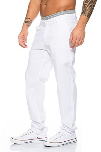 Rock Creek Herren Designer Chino Stoff Hose Chinohose Regular Fit Herrenhose W29-W40 RC-2083 Weiß
