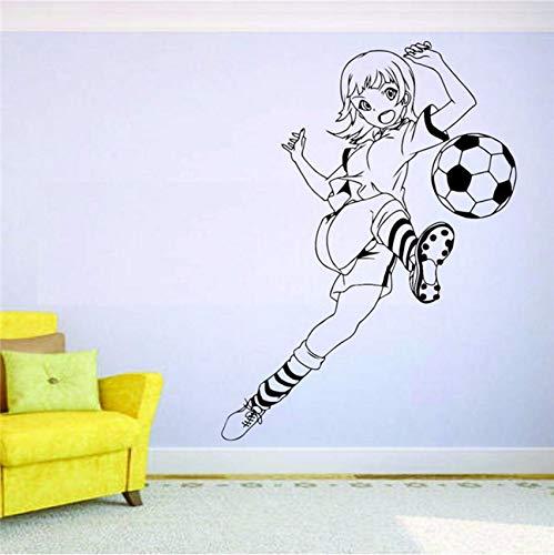(Fushoulu 58X43 Cm Fußball Wandbild Vinyl Aufkleber Aufkleber Decor Mädchen Sport Fußball Spieler Team Zitieren Kunst Dekor Wohnkultur Abziehbilder)
