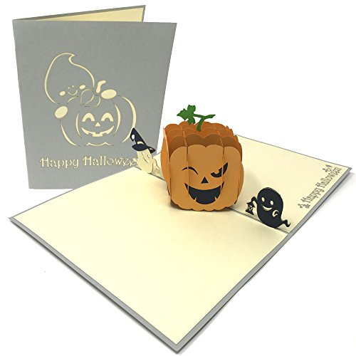 (Halloween 3D Pop Up Karte – die ideale Grußkarte, Tischkarte und Einladungskarte für Halloween-Partys – handgemachte Origami und Kirigami Geschenk-Karte (Pop Up Pumpkin))