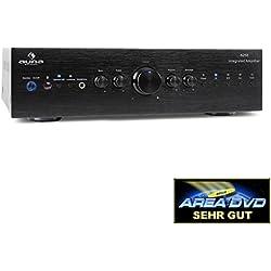 Auna AV2-CD708 • Home-cinéma Stéréo HiFi • Amplificateur Audio • 125 Watt RMS de Puissance • 5 entrées stéréo-RCA-Line • 1 Sortie Line-RCA • Télécommande • Sortie Frontale Casque • Noir