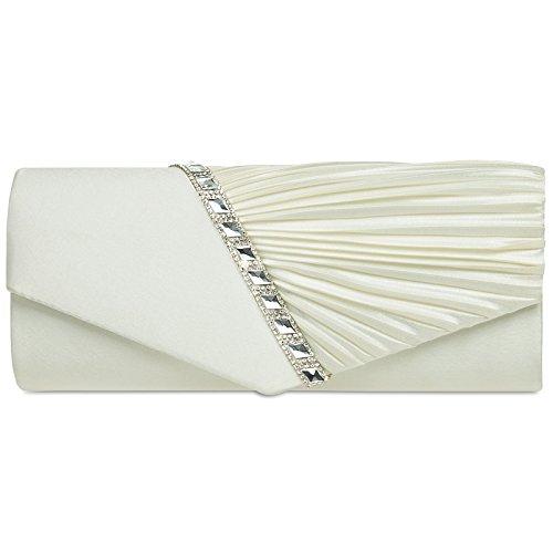 CASPAR TA391 elegante Damen Satin Clutsch Tasche Abendtasche mit Glitzer Strass und Falten,...