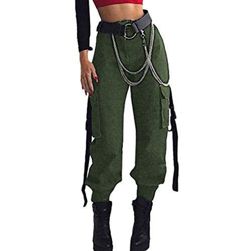 Schwarz Leder Tasche Kleidungsstück (Damen Cargo Hose, Frauen Armee Militär Beiläufig Ladung Keuchen Hosen mit Multi Taschen Mode Loose Fit Casual Harem Hose Bottoms Khaki/Schwarz / Grün)