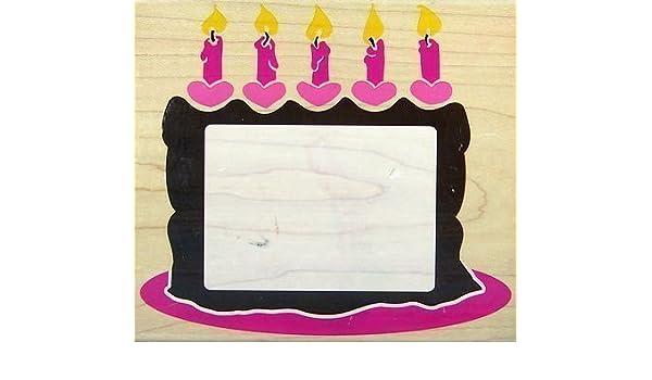 Birthday Cake Frame - Rubber Stamp #Z794G: Amazon.co.uk: Kitchen & Home