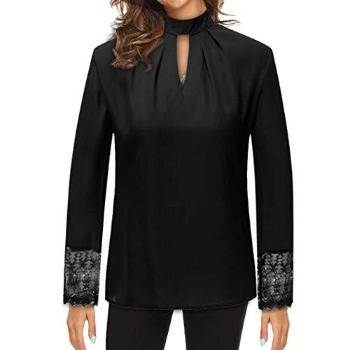 JUTOO Frauen Plus Size Casual Chiffon Langarm Splice Spitze Crop Tops Bluse Shirt(Schwarz,EU:40/CN:L)