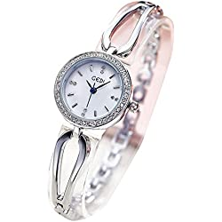 GEDI® Ladies Girls Wristwatch Silver Bracelet Chain Elegant Rhinestone Waterproof Watch