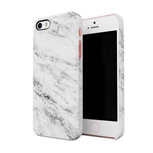Solid White Original Marble Print Hard Thin Plastic Phone Case Cover For iPhone 5 & iPhone 5s & iPhone SE