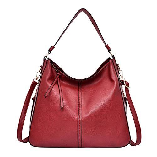 VADFLOD Damen Pu Leder Hobo Bag Top Griff Vintage Satchel und Anti-Diebstahl-Reißverschluss Design Handtasche mit Textur Aktentasche große Kapazität Damen Slouchy Arbeit Umhängetasche, rot -