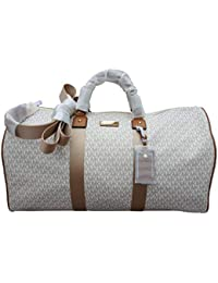 4cf9686b2e Michael Kors Michael Kors Leather PVC Travel Logo Duffle Large Bag Printed Duffel  Luggage Vanilla Brown