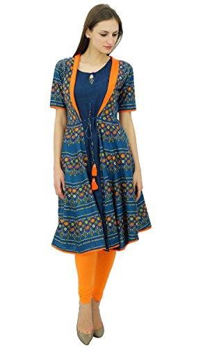 Bimba 2 pcs femmes court concepteur Flaired kurta imprimés robe coton kurti Bleu