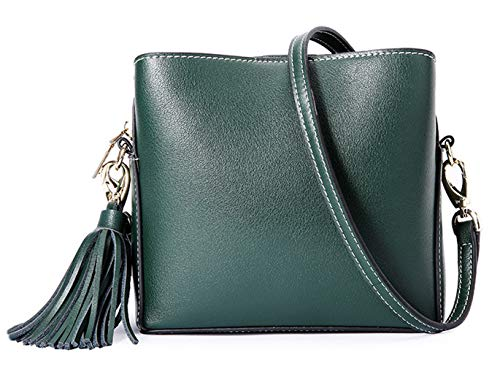 SAIERLONG Donna Stile casual Verde scuro Vera Pelle Borse Crossbody Sacchetti di spalla