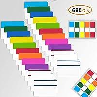 4EVERHOPE 680Pcs Pestañas de índice adhesivas Pestañas de marcador de página de 2 pulgadas, Pestañas de archivo regrabables y reposicionables Etiquetas de banderas, 26 juegos 12 colores surtidos