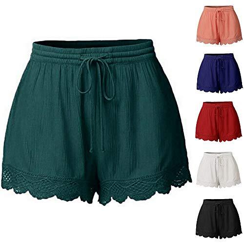 Yvelands Damen Shorts, Mode Frauen Lace Plus Size Seil Krawatte Shorts Yoga Sport Hosen Leggings Hosen(Orange,S) 2t 4t Bottoms Jeans