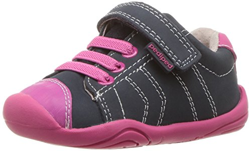 pediped Mädchen Jake Sneaker, Blau (Navy Pink NP), 19 EU Toddler Navy Nubuck Schuhe