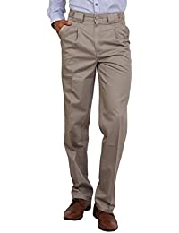 Bottom's Cotton Chinos Two Pleated Cartini Chickoo Colored Trouser For Men
