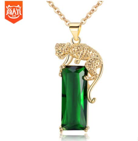 MOUNTINA Golden Flying Leopard Pendant Emerald Leopard Halskette Mode Long Gemstone Tourmaline Halskette (Leopard Flying)
