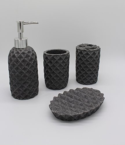 Euro Tische Bad-Set 4-TLG in Stein Optik grau Seifenspender Zahnbürstenbecher Becher Badezimmer Zubehör