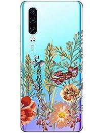 Suhctup Transparente Funda Compatible con Huawei Nova 2i,Cárcasa Silicona Ultra Fina Flor Diseño Anti-Arañazos Antigolpes Bumper TPU Resistente Case Cover para Huawei Nova 2i(9)