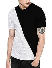 Veirdo Plain/Solid Black Half Sleeve Round Neck Men's Cotton Tshirt