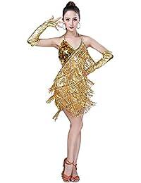 Yudesun Latino Ballo Abito Vestito Donna - Paillettes Frange Gonna Senza  Maniche Halter Nappa Dancewear Costume caf09a669a8