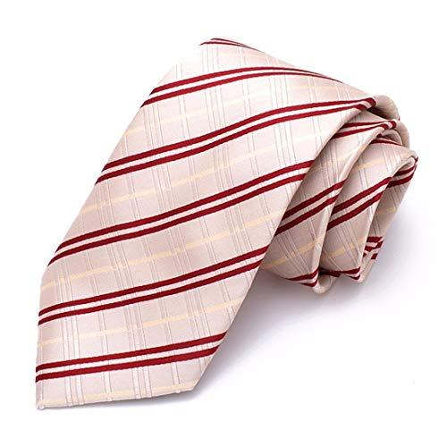 Yetta Home 8cm beige Champagner rote Streifen Krawatte klassisches Design männer 100% seidenkrawatte Party Casual geschäft bankett Hochzeit bräutigam in geschenkbox