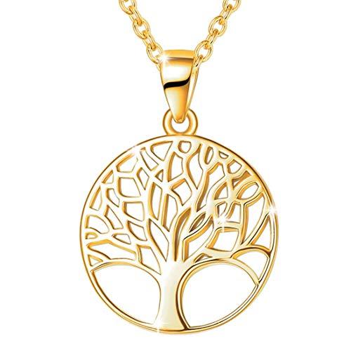 Baum des Lebens Kette für Damen Mädchen 925 Sterling Silber Gold Vergoldet Anhänger Halskette - Verstellbar Armkette: 40 + 5 cm