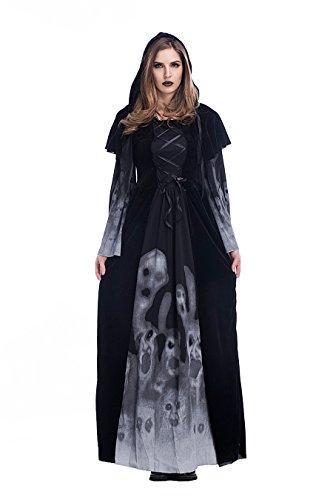 Frauen Sexy Schwarze Hexe / Die Nacht Ghost Halloween Fancy Lange Kleid Kostüm (Serving Wench Sexy Kostüme)