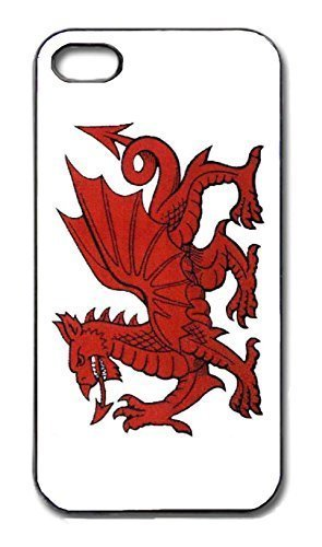 Rutmerch iPhone 4/4S & 5/5S Fall - Vintage Walisischer Drache Flagge, Wales Welsh Dragon Cover, Black case, iPhone 4/4S (Drache Iphone Fall)