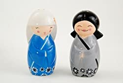 Japanese Kokeshi Girl Dolls Salt & Pepper Shaker Set by 180 Degrees