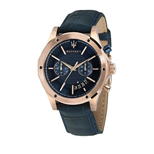 MASERATI Mens Chronograph Quartz Watch with Leather Strap R8871627002