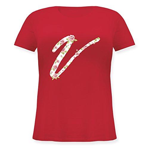 Anfangsbuchstaben - V Rosen - Lockeres Damen-Shirt in großen Größen mit Rundhalsausschnitt Rot
