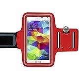 LetiStore Handy Sport Armband - Für Samsung Galaxy S9 / S8 / S7 / S6 / Edge / A8 / A6 / A3 / A5 / J6 / J3 / J5 / J7 Smartphone Sportarmband Zum Joggen - Neopren Sporthülle bis 5,7 Zoll - Rot