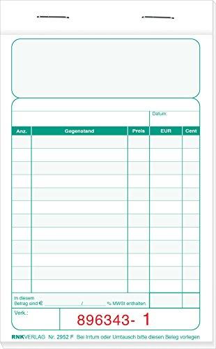 RNK 2952F–Caja registradora (bloque–Bicolor, Superior cosido, 2x 50hojas, numeradas, 96x 167mm