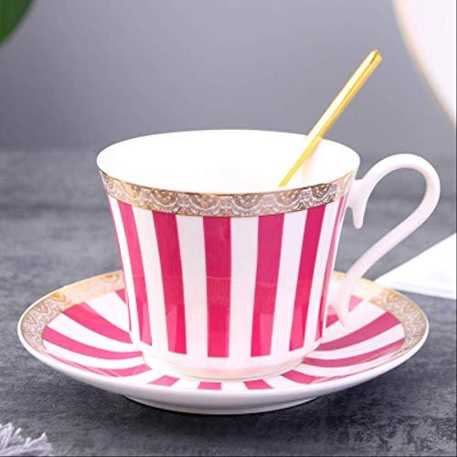 Prägnante Streifen Knochen China Kaffeetasse Untertasse Mit Gold Löffel Elegante Keramik Paris Teetasse 225ml Porzellan Teetasse Cafe Trinkgeschirr Rote Streifen Teetasse