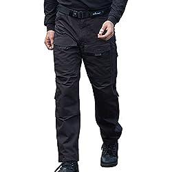 FREE SOLDIER Hombres Tactical Pants Resistente a los Arañazos Four Seasons Pantalones de Escalada de Múltiples Bolsillos Color Negro, Tamaño XXXL