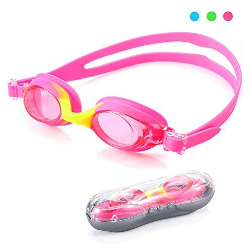 Schwimmbrille Swim Goggles Kids für Junior Jungen Mädchen lecksicher, rutschfest, wasserdicht (UV-Schutz, Anti-Fog, Harte Gläser, Linsen/Clear Lens) rosa ()