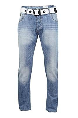 Mens Denim Jeans Firetrap 'Redfern' Straight Fit Button Fly Webbing Belt (Redfern (Stonewash)) 36W 30L