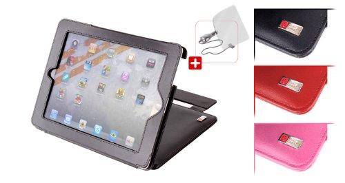 DURAGADGET Leder Ständer/Hülle für iPad2Apple iPad 2mit magnetischem Sleep/Wake Funktion, KFZ-Ladegerät und Displayschutzfolie-Schwarz