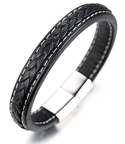 """Halukakah «DYNASTIE»:Le Bracelet de l'homme en Cuir Véritable Noire,Fait à la main Fil de Cotton,avec Fermoir Magnétique,8.46 """"/ (21 .5cm ) avec le Boîte-cadeau Gratuit"""