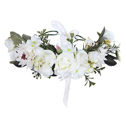 AWAYTR Boho Blumenkrone Stirnband Festival Kopfschmuck - Handgefertigt Blume Haarkranz mit Band Beere Blumenstirnband für Frauen und Mädchen Kleid (Weiß + Beige)