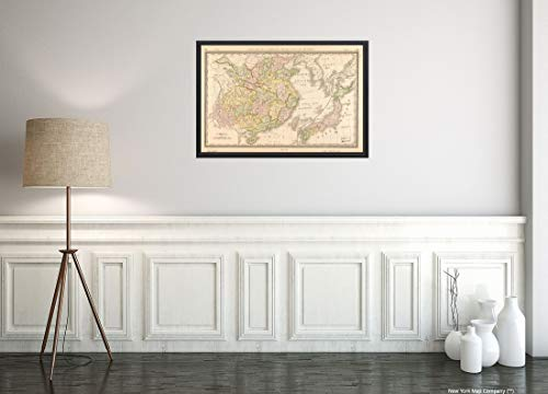 New York Map Company 1883 Landkarte/Titel: China: Kartengröße: 40,6 x 61 cm, passend für 40,6 x 61 cm Vintage Fine China Japan