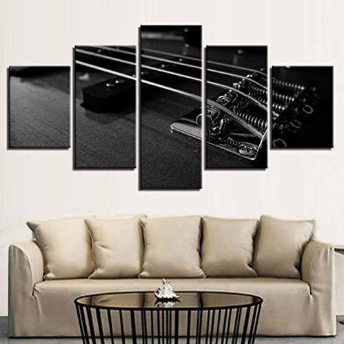Leinwand HD Drucke Bilder Wohnzimmer Wandkunst 5 Stücke Gitarre Musikinstrumente Zimmer Gemälde Wohnkultur Poster Rahmen 40x60 40x80 40x100 cm (Gemälde Musikinstrumente,)