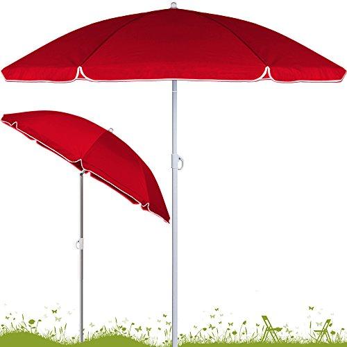 Deuba® Sonnenschirm höhenverstellbar 180cm - 200cm ✔ Neigefunktion ✔ 2teilig transportierbar ✔ stabile Verstrebung ✔ wasserabweisend ✔ Gartenschirm ✔Strandschirm ✔rot ✔180cm