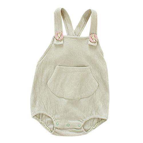 e Baby Knopf Taschen Spielanzug Strampler, Kleinkind Unisex Mädchen Junge Ärmellos Strap Sling Overall Sommer Rückenfrei Jumpsuit Freizeit Bodysuit Outfits 0-24 Monate ()