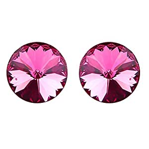 Ananth Jewels 925 BIS HALLMARKED Silver Made with Swarovski Elements Large Crystal Stud Earrings for Women