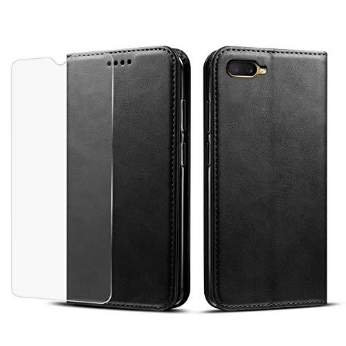 Casewin Oppo RX17 Neo Hülle, Extra Dünn Ledertasche PU Brieftasche Hülle [Kartenschlitz] [Standfunktion] Stoßfestes Ganzkörper Leder Wallet Case Schutzhülle Noir