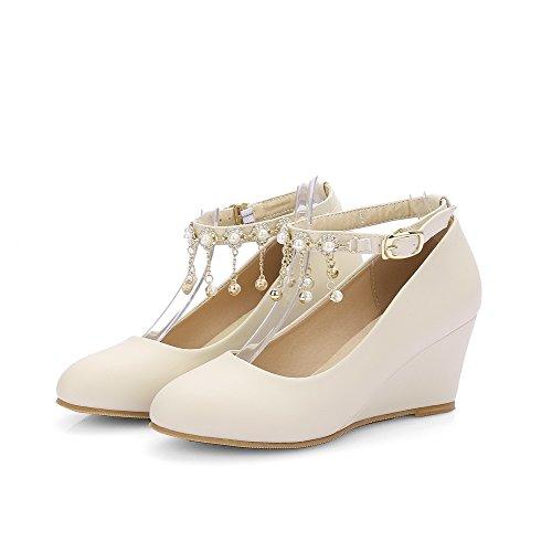 VogueZone009 Femme Boucle à Talon Correct Pu Cuir Mosaïque Rond Chaussures Légeres Beige